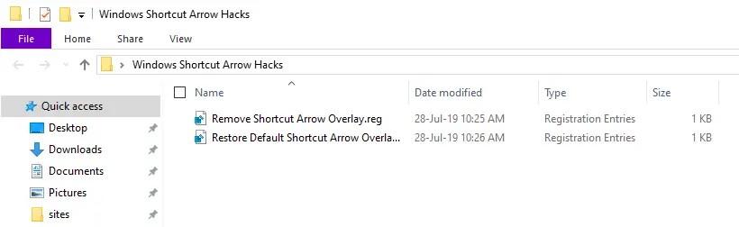 Win10 remove shortcut arrow - reg files