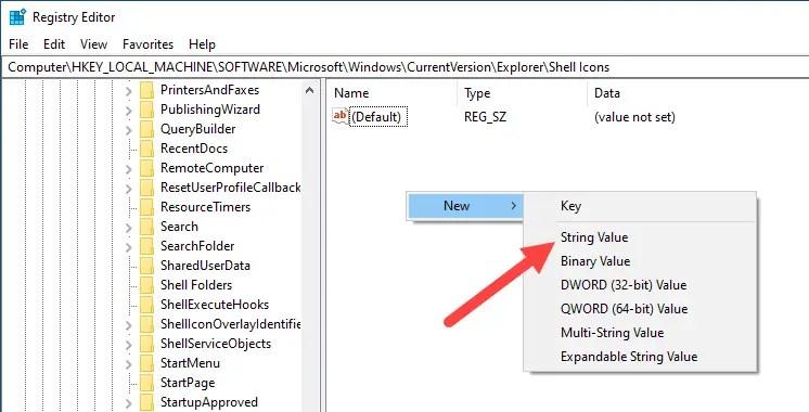 Win10 remove shortcut arrow - select string