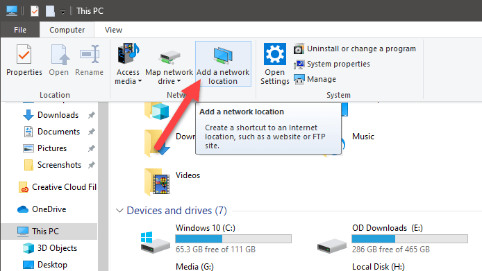 Windows 10 map ftp as drive - click add network location