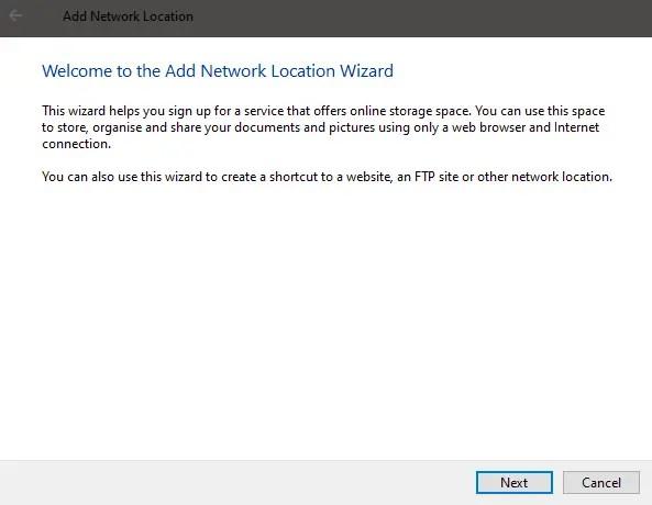 Windows 10 map ftp as drive - click next 1