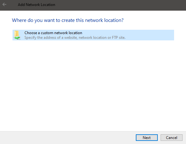 Windows 10 map ftp as drive - click next 2