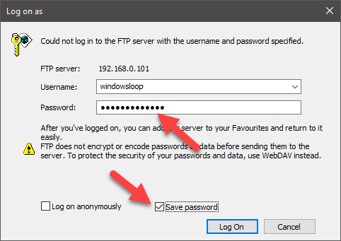 Windows 10 map ftp as drive - enter ftp password