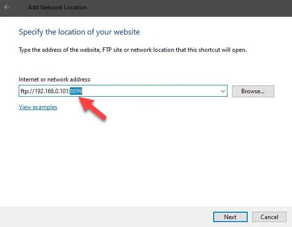 Windows 10 map ftp as drive - enter ftp url