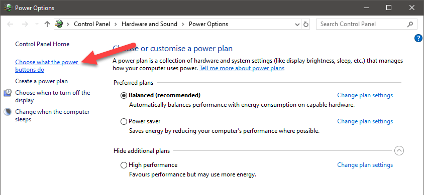 Windows 10 start menu sleep option - 02 - click choose what power buttons do