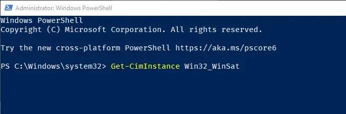 Windows 10 windows experience index score - run wei powershell command