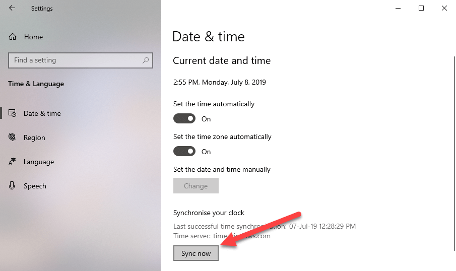 Windows time sync command - time sync button