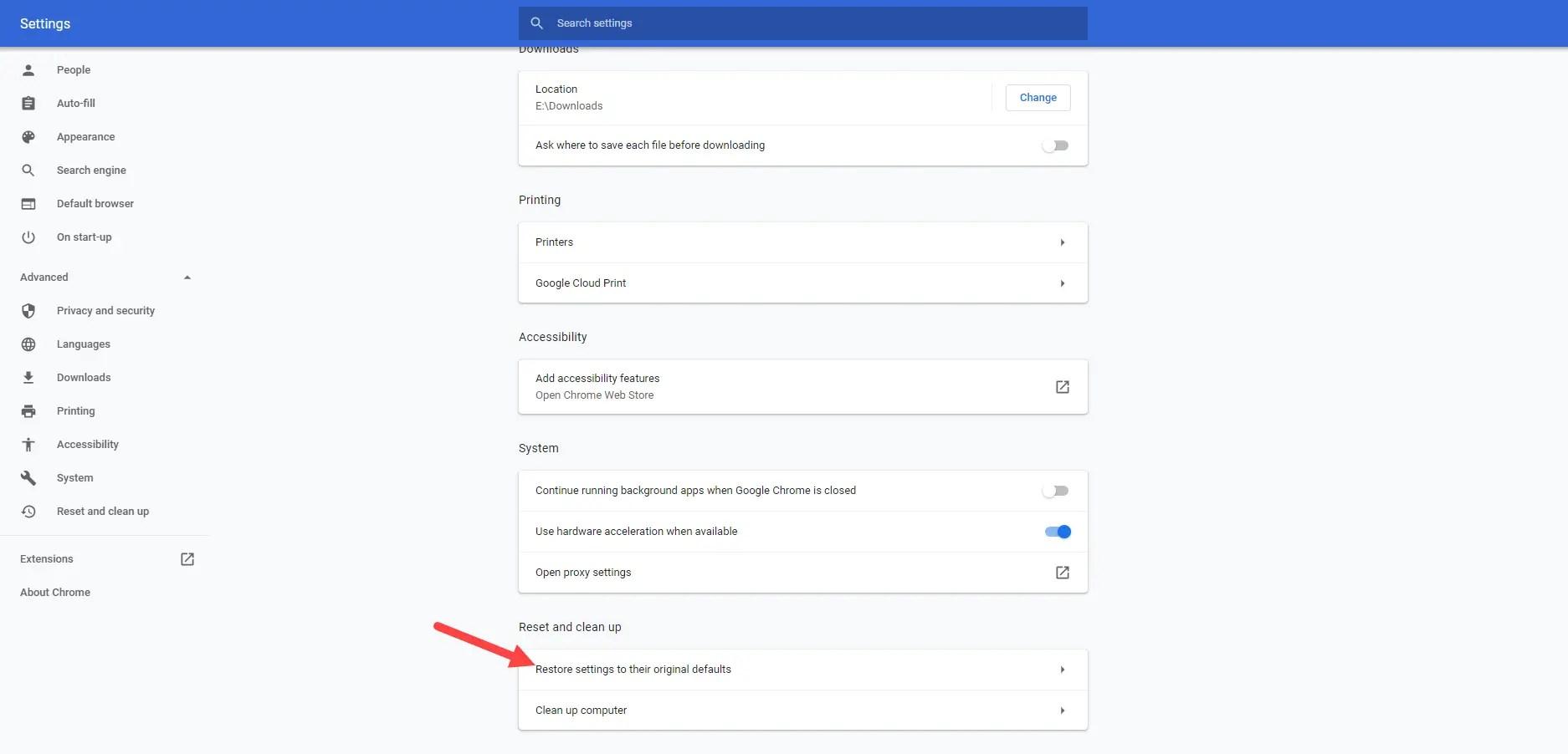 Windows reset chrome - click reset option