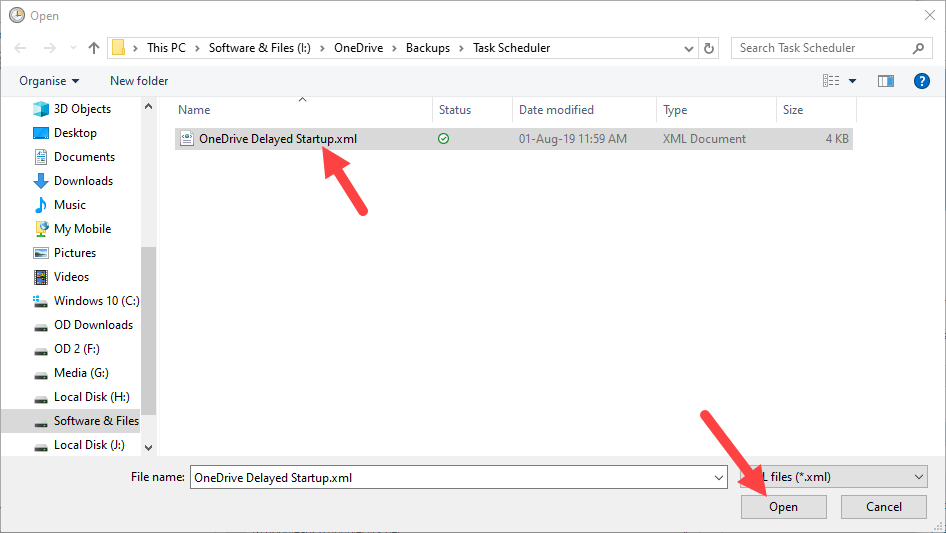 Backup task scheduler - select file to import
