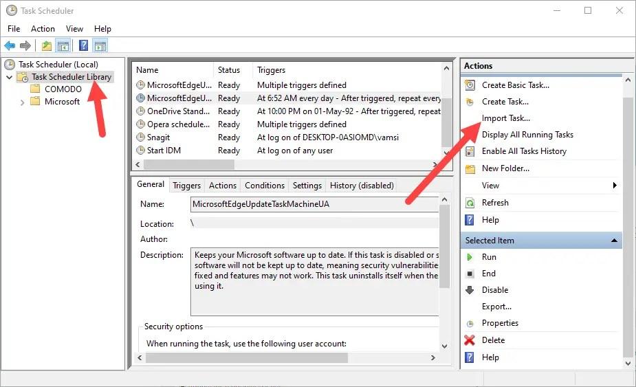 Backup task scheduler - select import