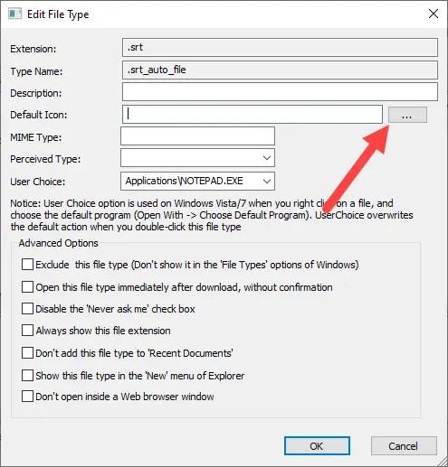 Change file icon win 10 - click browse