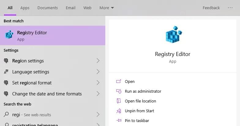 Win 10 change taskbar button width - open registry