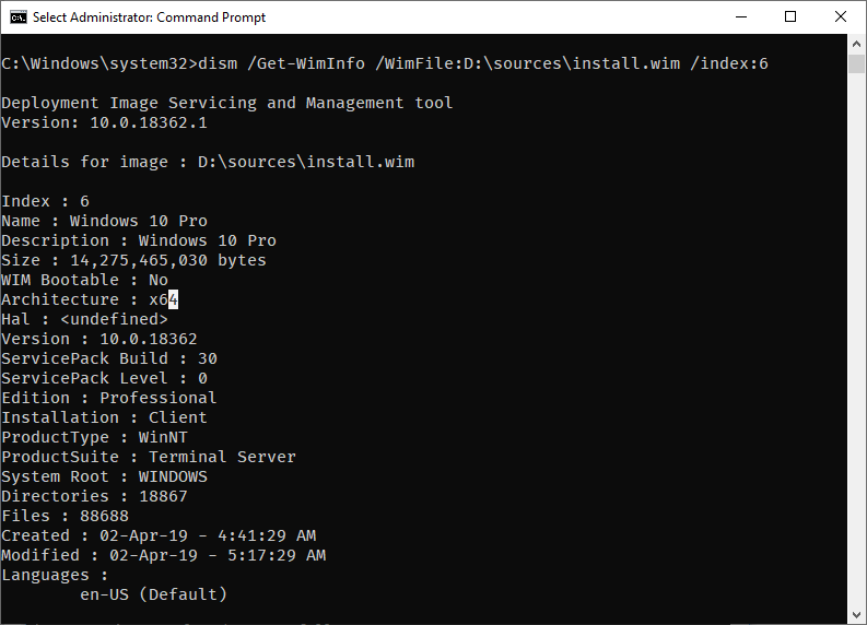 Win 10 iso version build number - command results of changing index number