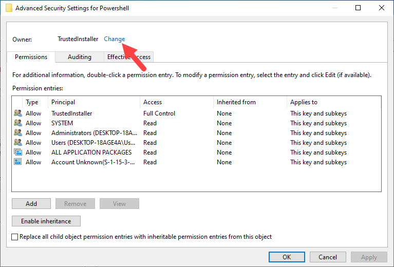 Win10 remove powershell from right-click - click change