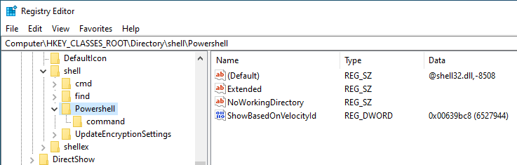 Win10 remove powershell from right-click - go to folder