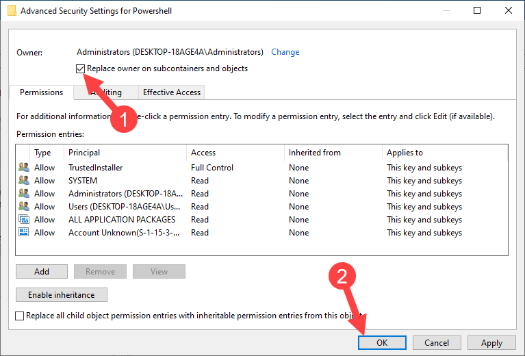 Win10 remove powershell from right-click - replace owner of subcontainers