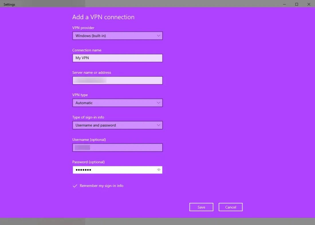 Windows vpn options - enter vpn connection details