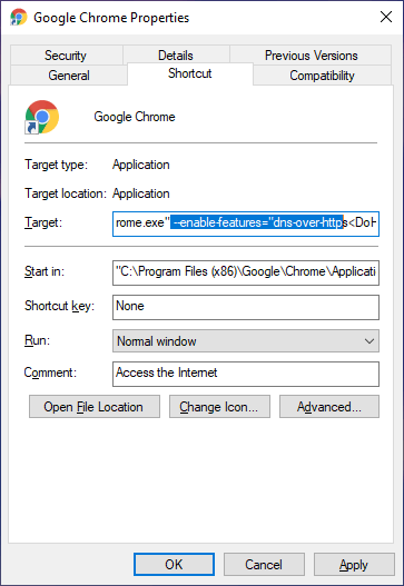 Chrome-dns-over-https-add-doh-code-in-target-field