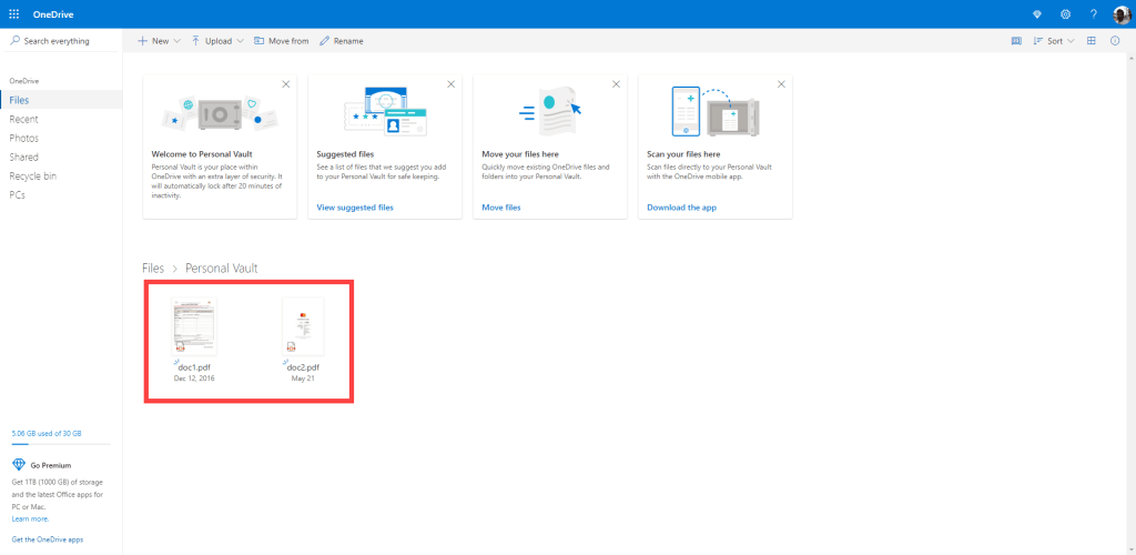 Onedrive-personal-vault-upload-files-to-personal-vault