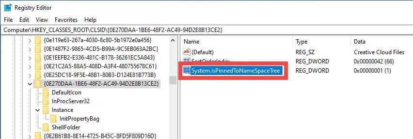 Unpin-remove-creative-cloud-files-folder-open-value