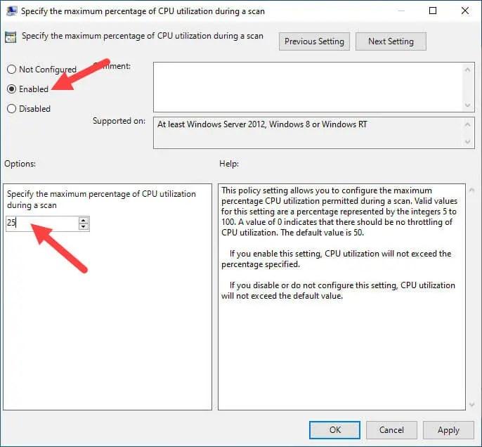 Windows-defender-cpu-usage-limit-set-policy