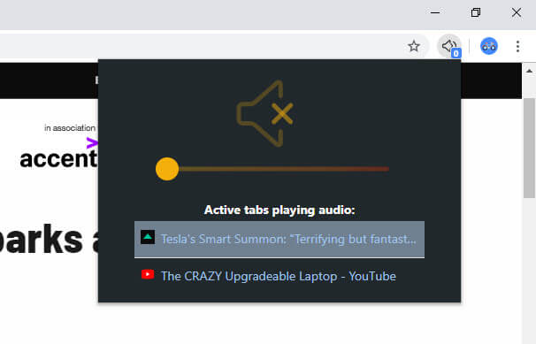 Change-chrome-tab-volume-drag-slider-to-adjust-volume