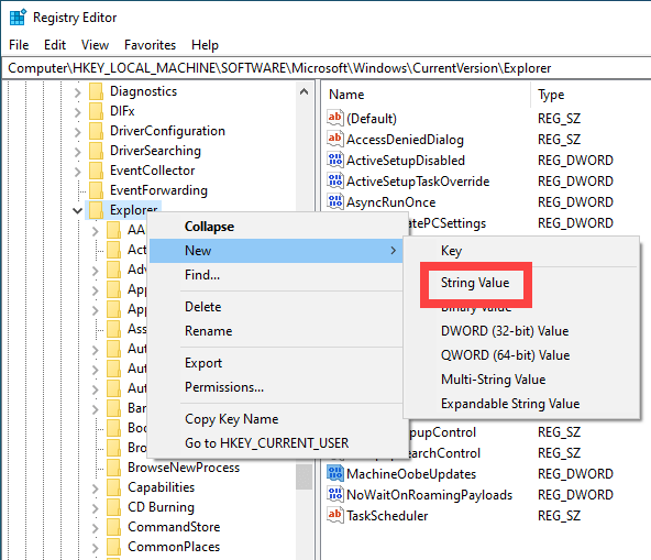 Change icon cache size - create new string value