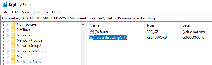 Disable power throttling win 10 - create new value in registry