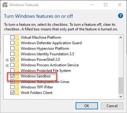 Windows-sandbox-in-home-edition-select-checkbox