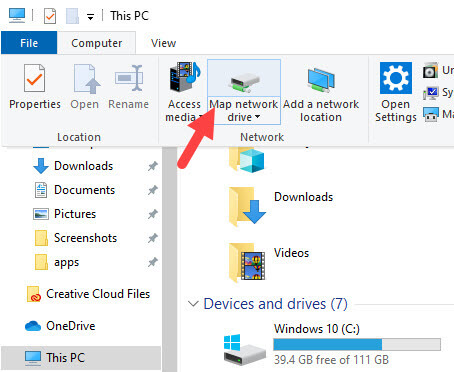 Add sharepoint to file explorer - select map network drive option