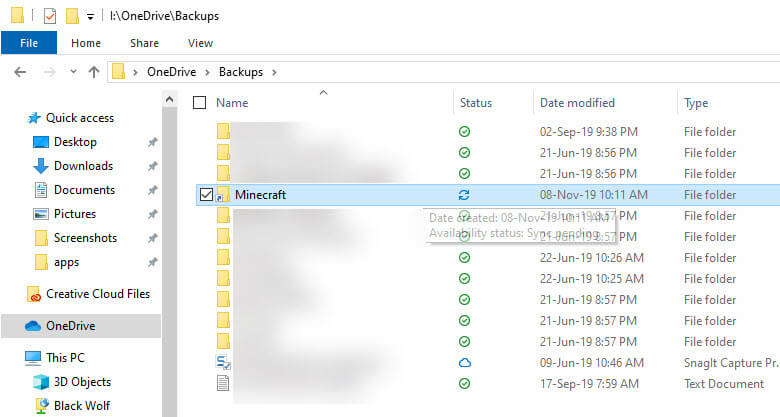 Backup minecraft to onedrive - new minecraft folder