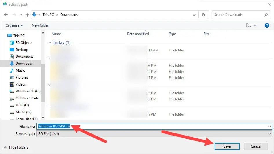 Download-windows-10-v1909-iso-select-destination