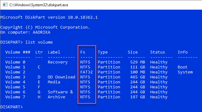 Find-file-system-diskpart-list-volume