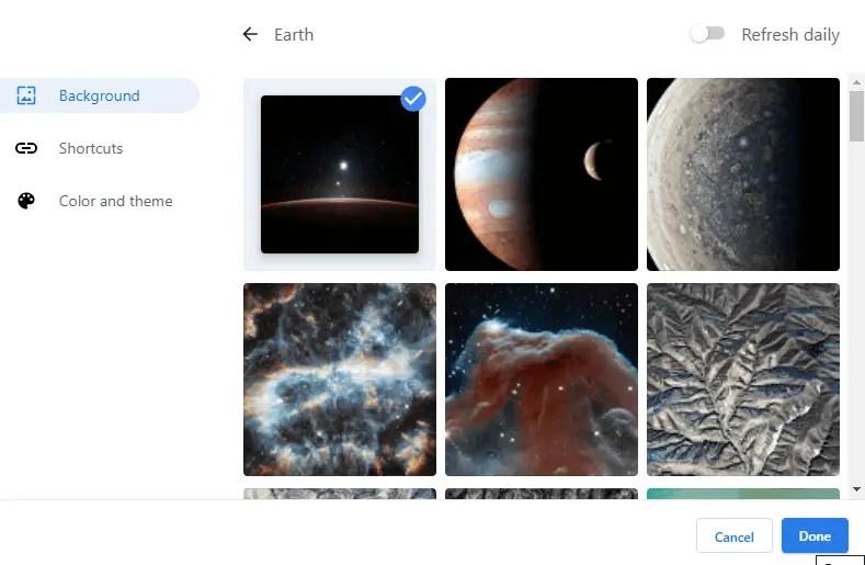 Make-google-chrome-theme-select-background-image
