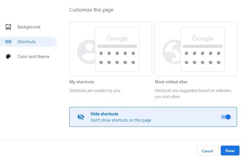 Make-google-chrome-theme-select-shortcuts-type