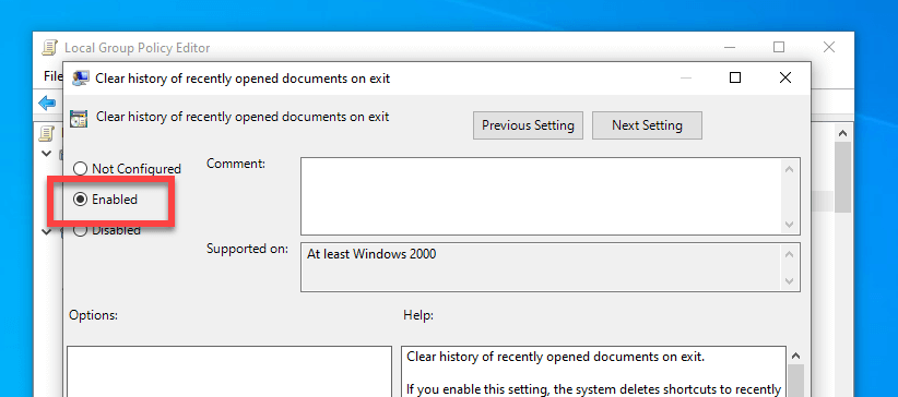 Clear-recent-documents-windows-enable-policy