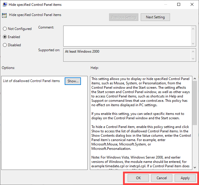 Hide-control-panel-items-gpo-windows-save-policy-changes