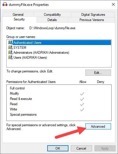 Restore-trustedinstaller-windows-click-advanced