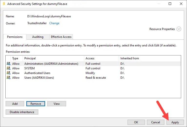 Restore-trustedinstaller-windows-click-apply