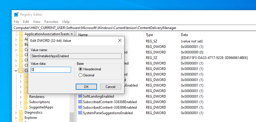 Stop suggested apps from installing windows 10 - change value data