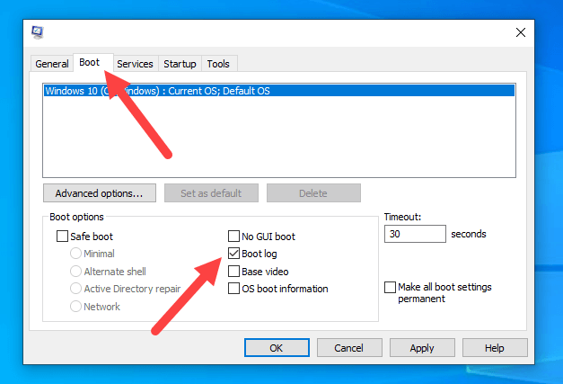 Windows-boot-loggin-events-msconfig-tool
