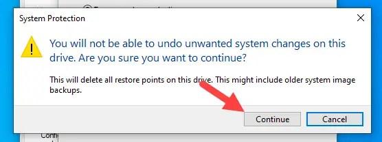 Delete-old-restore-points-windows-click-continue