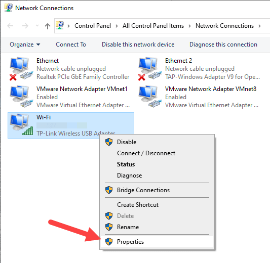 Disable-wifi-on-lan-connect-windows-select-properties