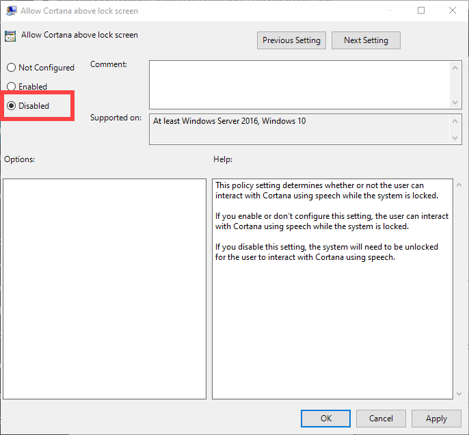 Disable-cortana-on-lock-screen-windows-10-disable-policy