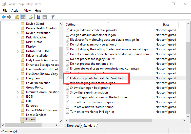 Disable-fast-user-switching-windows-10-open-policy