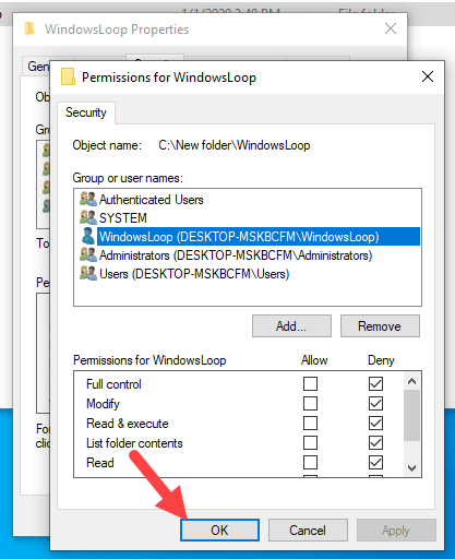 Restrict-folder-access-windows-click-ok-to-save-changes