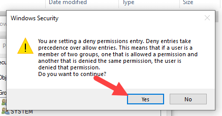 Restrict-folder-access-windows-click-yes