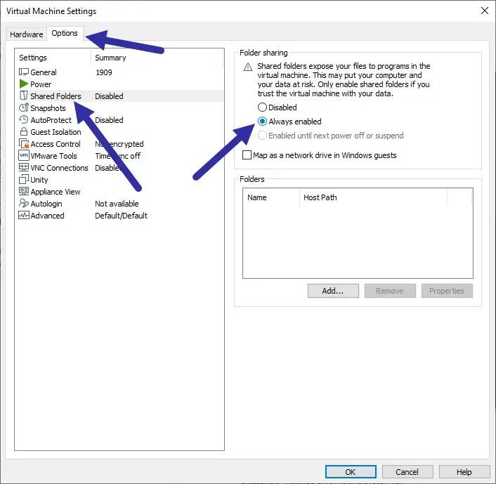 Vmware-shared-folder-select-enabled