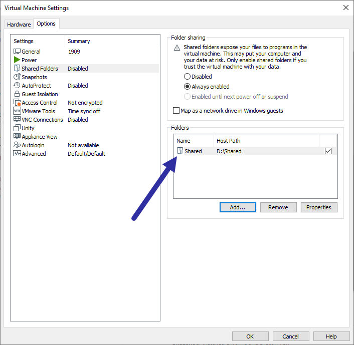 Vmware-shared-folder-share-added