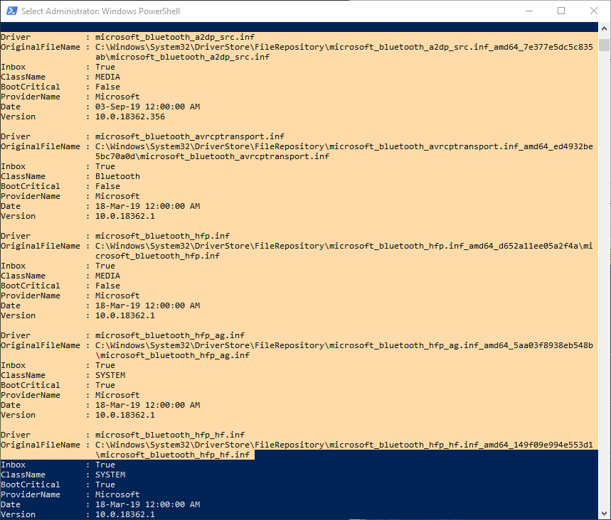 Powershell-command-driver-list-windows-copy