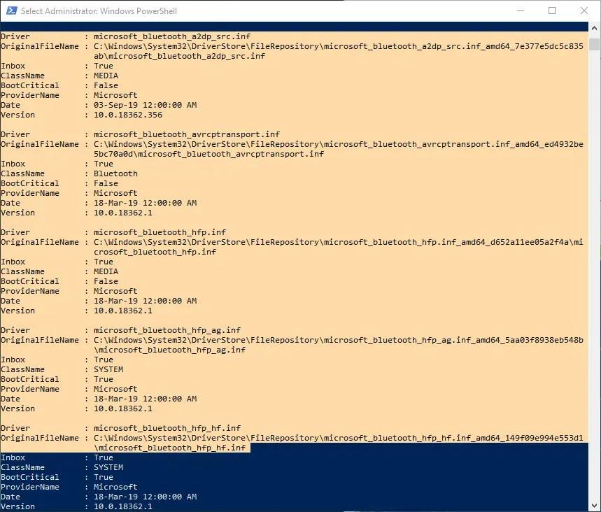 Powershell-command-driver-list-windows-copy